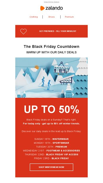 Black Friday Countdown Up To 50 Off Winter Trends Zalando Email Archive