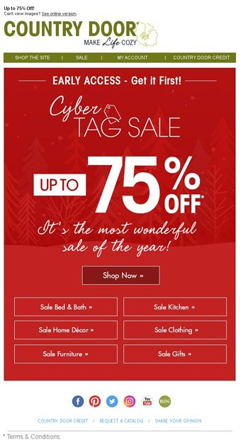 Early Access Shop Cyber Tag Sale Today Country Door Email Archive