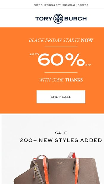 575c6b265f8 Surprise! Up to 60% off new sale styles - Tory Burch Email Archive