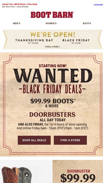 black friday doorbusters huge deals all day boot barn email archive