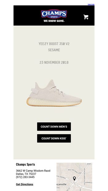 """a6dd20ea783 The Yeezy Boost 350 V2 """"Sesame"""" drops tomorrow! - Champs Sports Email  Archive"""