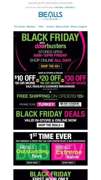 220ab3bab Black Friday Deals for Everyone on Your List! Stores Open at 6am - Bealls  Florida Email Archive