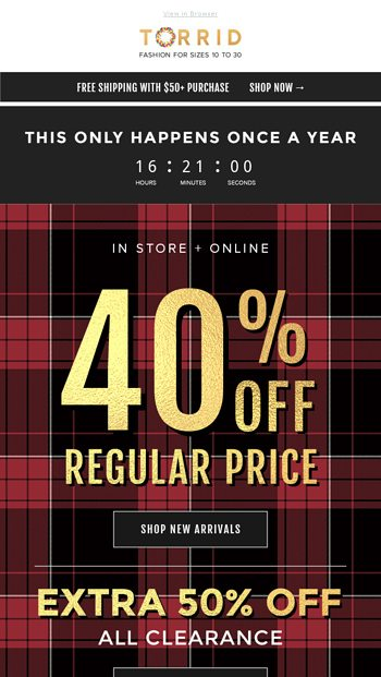 e220f34795b Black Friday is here! 40% Off   Free Ship  50 - Torrid Email Archive