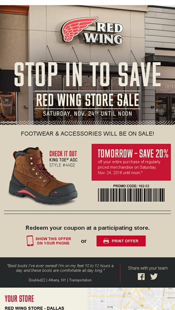 photograph regarding Red Wings Boots Printable Coupons named Tomorrow Just - 20% off ALL Shoes Equipment - Purple