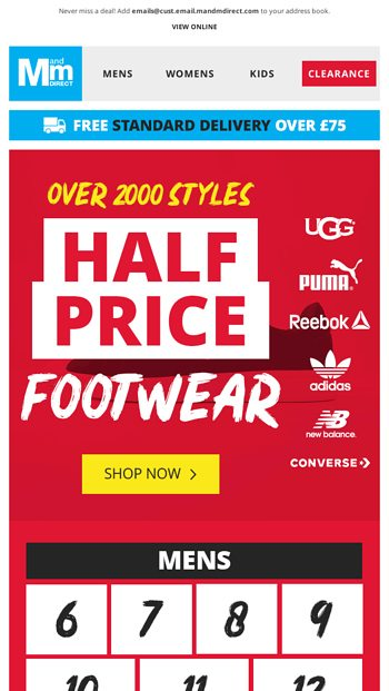BIG brand Trainers up to 75% off   Over 700 styles under £30