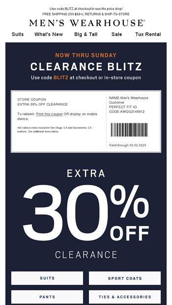 Clearance Blitz on now. $59.99 shoes + $24.99 dress shirts