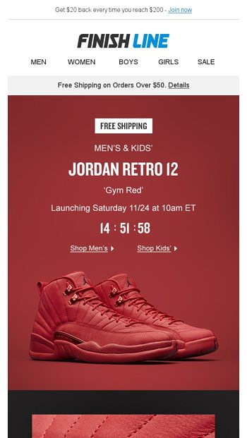 Retro 12  Gym Red . - Finish Line Email Archive 396268e39