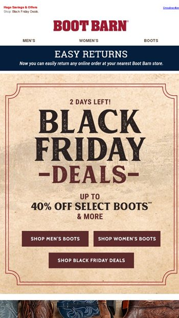 black friday deals continue \u2013 up to 40% off select boots boot barnblack friday deals continue \u2013 up to 40% off select boots boot barn email archive