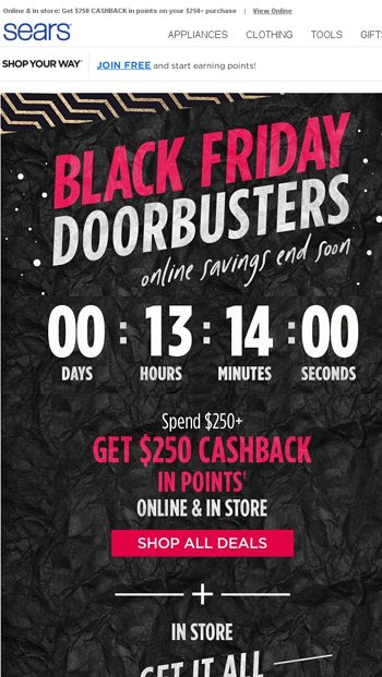 1553af0e4e0f Black Friday Doorbusters END TONIGHT - Sears Email Archive