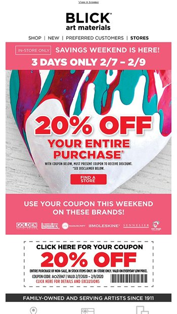 Special Coupon Inside Blick Art Materials Email Archive