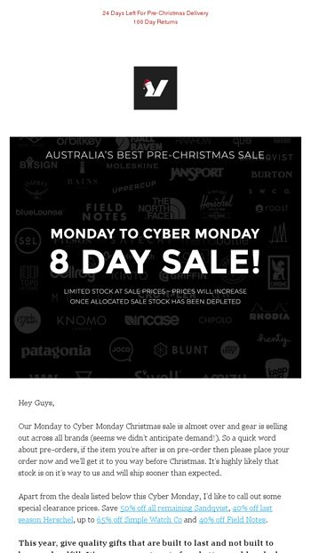 0824f589bc95 Cyber Monday Christmas Sale - Gear Is Running Out - Rushfaster.com.au Email  Archive