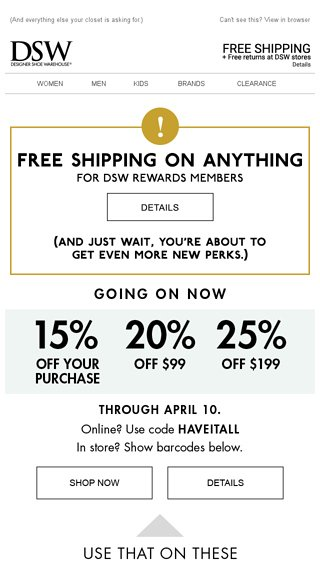 93642bff22e Save    on these outfit-making sandals. - DSW Email Archive