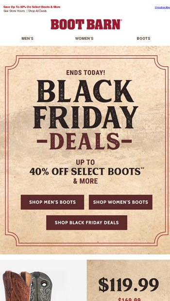 ends today black friday deals boot barn email archive
