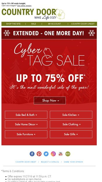 Cyber Tag Sale Extended 1 Day Only Country Door Email Archive
