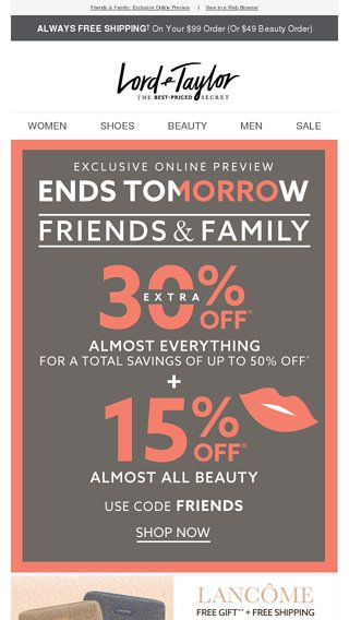 Your online exclusive: EXTRA 30% OFF + 15% OFF beauty - Lord & Taylor Email Archive