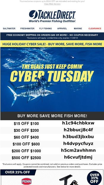 ·⚡· Cyber Tuesday Deals ·⚡· - TackleDirect Email Archive