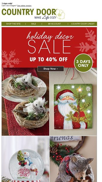 Sale Up To 40 Off Holiday Dcor Country Door Email Archive