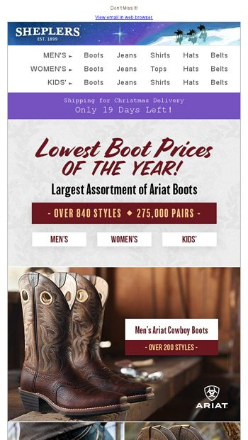 4216308c229 Ariat Lowest Prices of the Year – 1 Day Left! - Sheplers.com Email ...