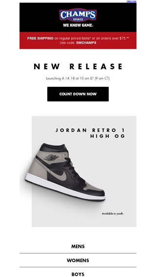 fe8bd6d543d1e3 Jordan Retro 1 High OG dropping tomorrow! - Champs Sports Email Archive