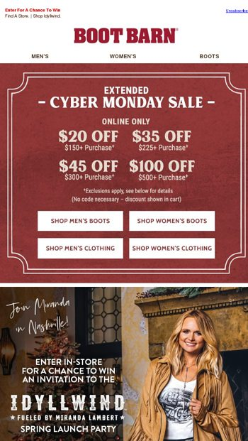 1c76ae74e0a5b Join Miranda Lambert At The Idyllwind Launch Party - Boot Barn Email Archive