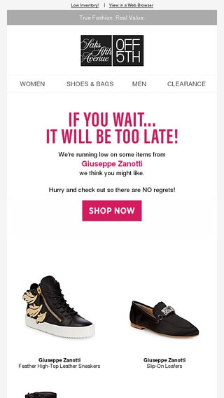 4b979ab8738a6 Limited-quantity styles from Giuseppe Zanotti - OFF 5TH Saks Fifth Avenue  Email Archive
