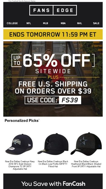 35df9eab951 UNBEATABLE Savings...Up To 65% Off + Free Shipping - FansEdge Email ...