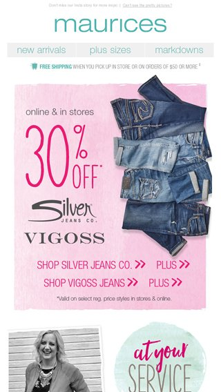 1547a0bc2c3 BRACE YOURSELF  30% off Silver Jeans Co.   Vigoss jeans starts now! -  maurices Email Archive