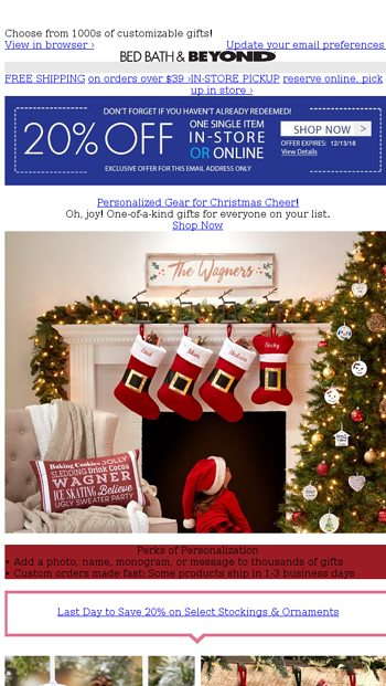 Were Giving You Personalized Gifts And A 20 Off Coupon Its