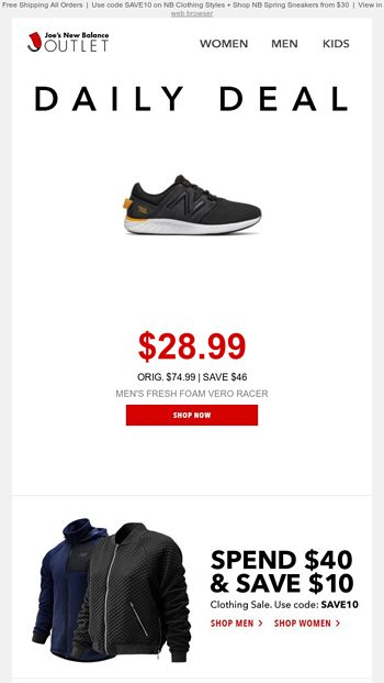 joe's new balance deal of the day