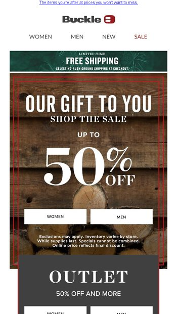 Our Gift To You The Holiday Sale Buckle Email Archive