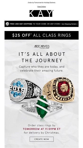 Save 25 On Class Rings That Capture Their Amazing Journey Kay Email Archive