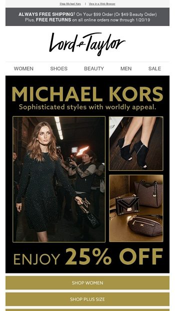 d7e56ab92263e 25% off Michael Kors = Gifts for ALL - Lord & Taylor Email Archive