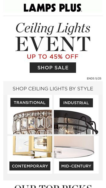 Ceiling Lights Up To 45 Off Brighten Your Space Lamps Plus Email Archive
