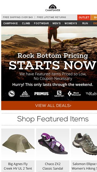 aae16b8701af Low Prices on High Quality Gear - CampSaver Email Archive