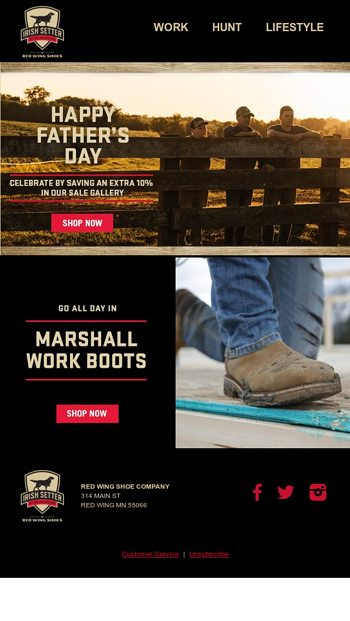 father's day work boot sale
