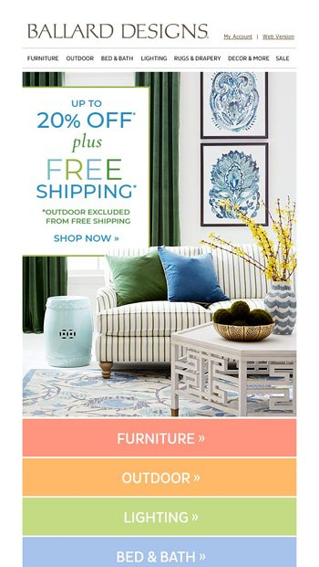Final Hours To Shop Up To 20 Off Free Shipping Ballard Designs Email Archive