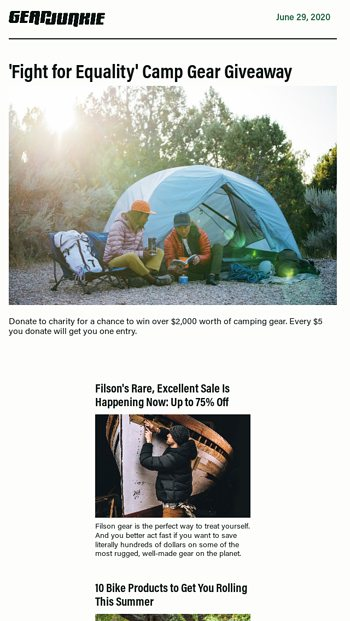 Fight For Equality Camp Gear Giveaway Gearjunkie Email Archive