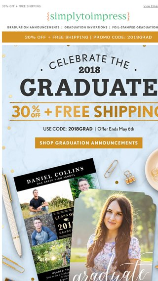 Announce The Graduate 30 Off All Cards Invites Simply To