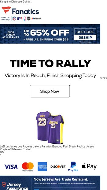 Rally Before It s Too Late - Fanatics.com Email Archive 753c38eea