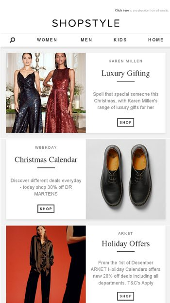 0a83802d8b5 A New Deal Everyday At Weekday - ShopStyle Email Archive