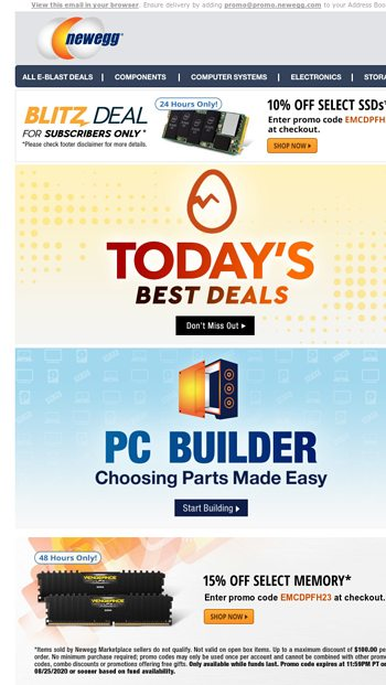24hrs Only 10 Off Select Ssds With Promo Code Newegg Com Email Archive