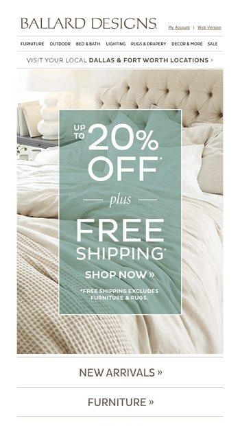 Calling It A Night Up To 20 Off Free Shipping Ends Soon Ballard Designs Email Archive