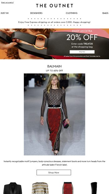f93dec18 Join the Balmain Army with up to 65% off - THE OUTNET Email Archive