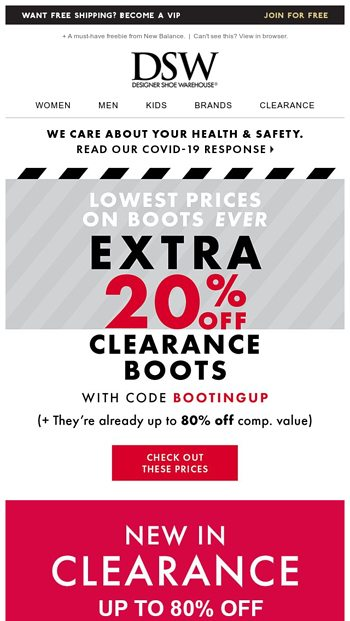 EXTRA 20% off clearance boots inside