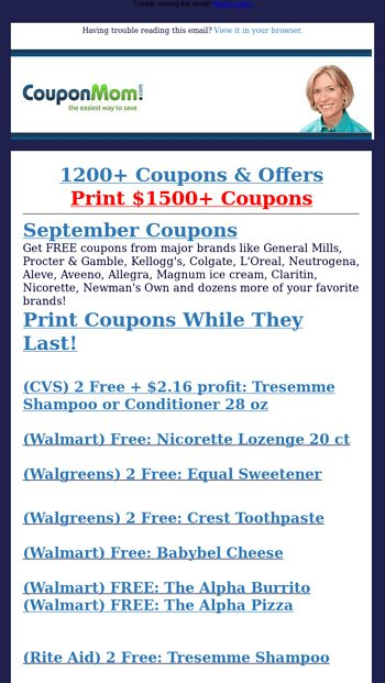 43 New Free Deals Shampoo Crest Pizza Pepsi Cereal Snacks More Coupon Mom Email Archive