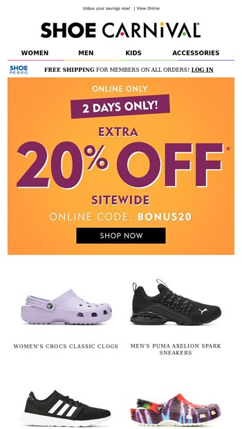 2 DAYS ONLY - 20% off 👀 - Shoe Carnival