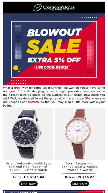 Popular Weekly Picks Re Offered At Additional Discount Of 5 Coupon Code Applies Creationwatches Email Archive