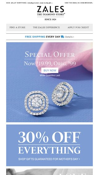 391fef345 A Great Gift For Mom: These $19.99 Special Offer Earrings! - Zales Email  Archive