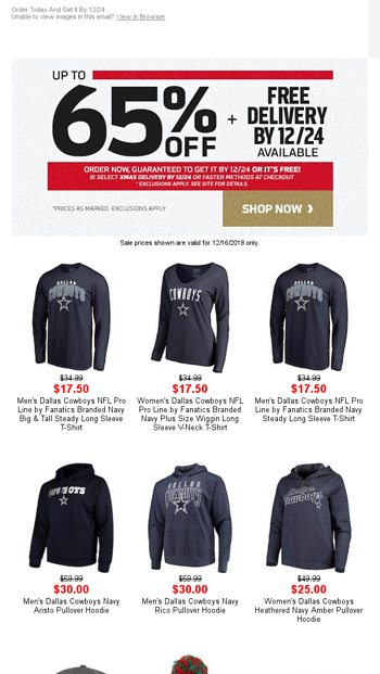 Up to 65% Off Cowboys Gear + Free Guaranteed 12 24 Delivery! - NFLShop  Email Archive e076156e9