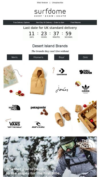 Christmas gifts from the brands they love Surfdome Email